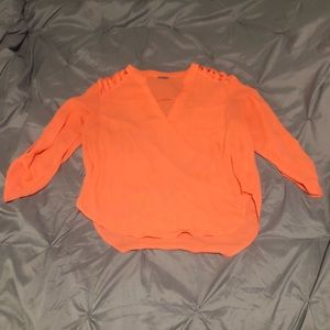 Charlotte Russe Orange Top W/Cut-Out Shoulders (L)